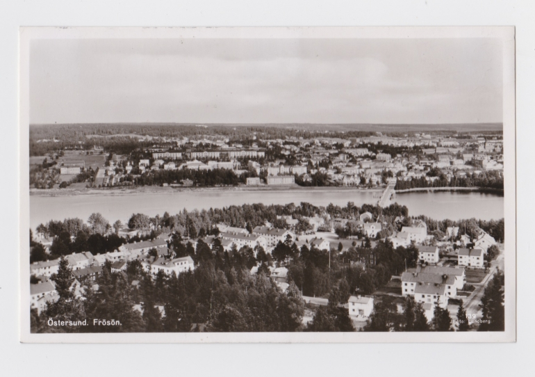 Black and white postcard of Ostersund