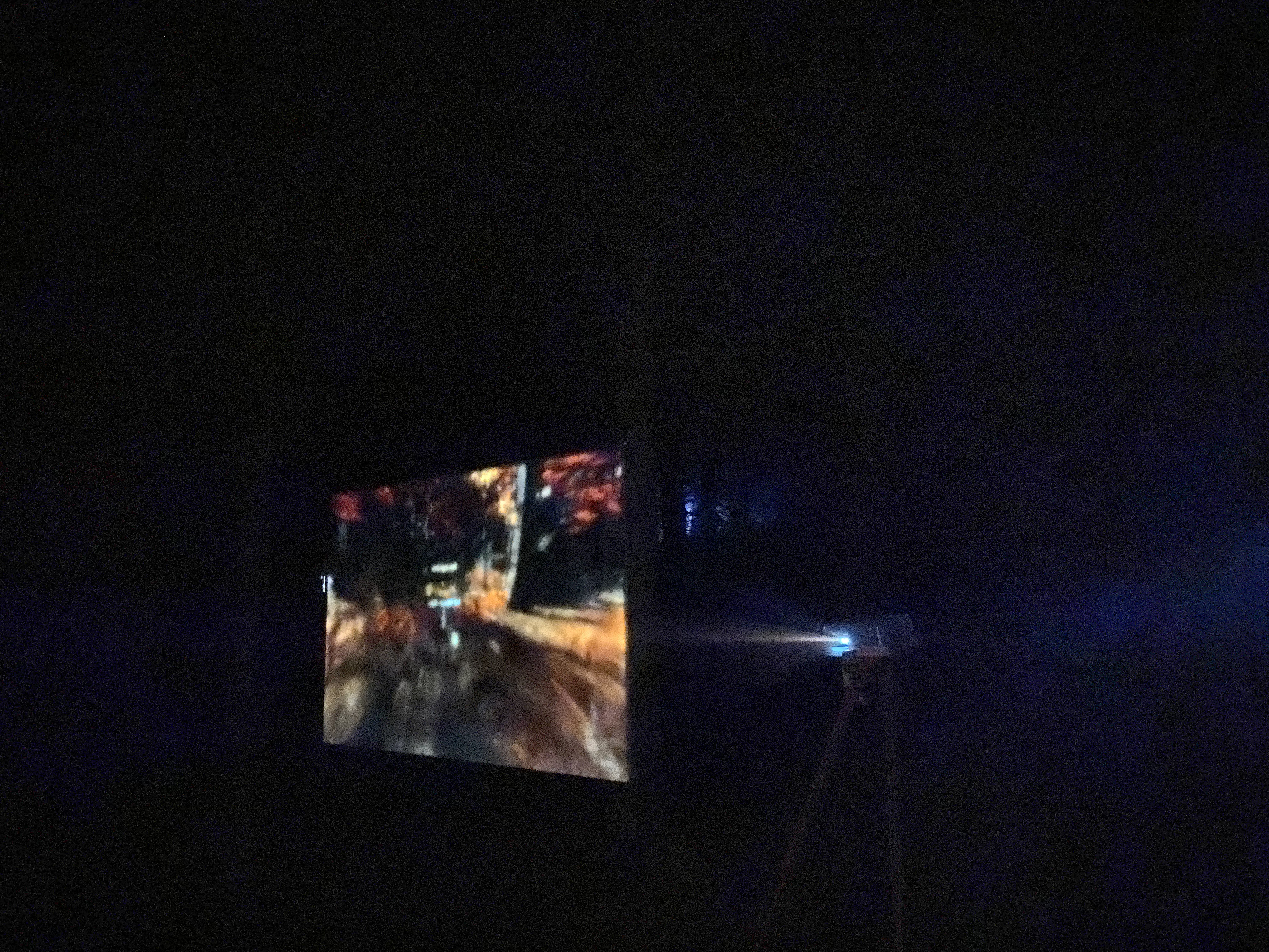 in an almost pitch-black woodland, there's a floating screen with a projector behind, showing an image of a character running through a digital woodland